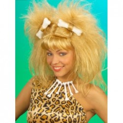 Cavewoman Wig Blonde with 2 Bones