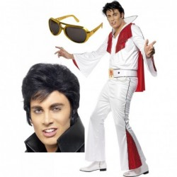 Mens Elvis Costume with Optional Wig and Glasses