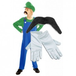Boys Luigi with Optional Moustache and Gloves