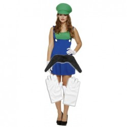 Ladies Luigi with Optional Moustache & Gloves