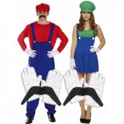 Mens Mario & Ladies Luigi with Optional Moustache & Gloves