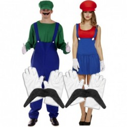 Mens Luigi & Ladies Mario with Optional Moustache & Gloves