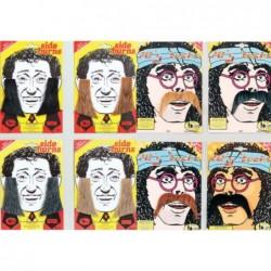 Stick on 70s Moustache & Side Burns Kit Choose Colour