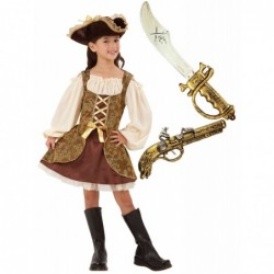 Girls Golden Pirate with Optional Sword & Gun