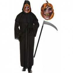 Mens Death Robe with Pumpkin Mask & Scythe