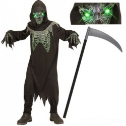 Boys Grim Reaper Green Light-Up Eyes and Optional Scythe