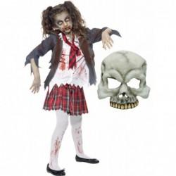 Girls Zombie School Girl and Half Skull Mask