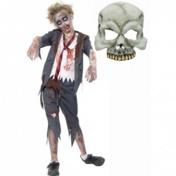 Boys Zombie School Boy and Half Skull Mask