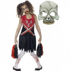 Girls Zombie Cheerleader and Half Skull Mask