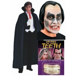 Dracula Cape With Teeth and Wig