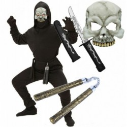 Boys Ninja Costume with Skull Mask Sword and Nunchuks