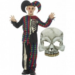 Skeleton Jester with Half Skull Mask