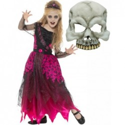 Gothic Prom Queen with Half Skull Mask
