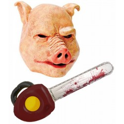 Horror Pig Mask with Chainsaw