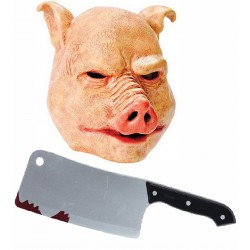 Horror Pig Mask with Cleaver