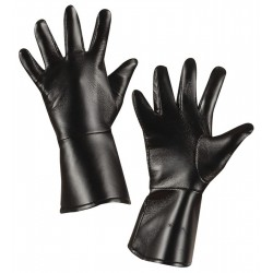 black leather-look gloves