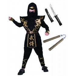 Black and Gold Ninja with Toys