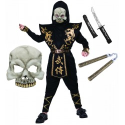 Black and Gold Ninja with Skull Mask and Toys