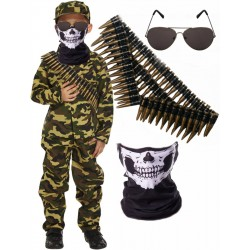 Army Boy with Skull Mask Bullet Belt and Shades