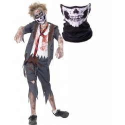 Boys Zombie School Boy and Skull Mask