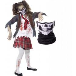 Girls Zombie School Girl and Skull Mask