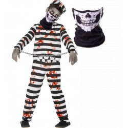 Boys Zombie Convict and Skull Snood Mask