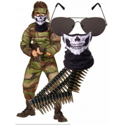 Muscle Soldier with Skull Mask Bullet Belt and Shades