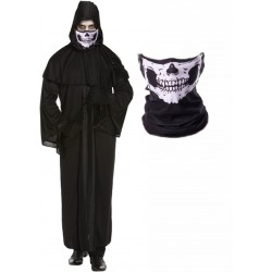 Mens Death Robe with Skull Snood Mask