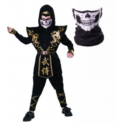 Black and Gold Ninja with Skull Snood