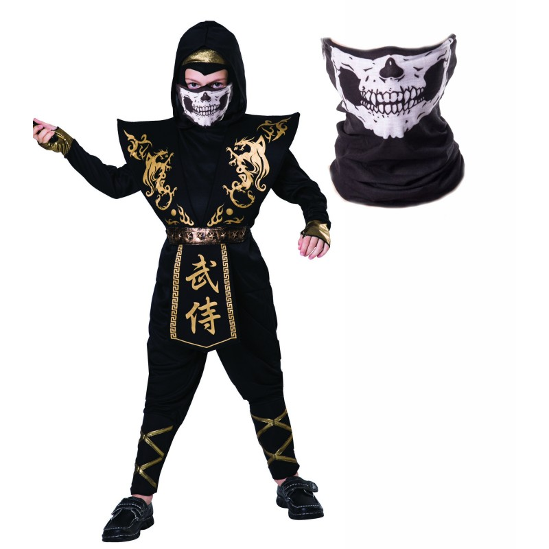 Boys Black and Gold Ninja Halloween Fancy Dress Costume with Skull Snood