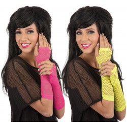 Neon Elbow Fishnet Gloves