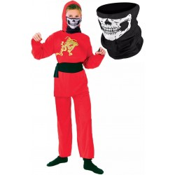 Red Ninja Boy with Skull Mask