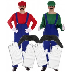 Mens Couples Mario and Luigi with Gloves and Moustache
