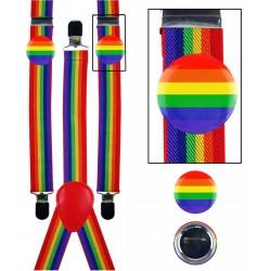 Pride Rainbow Braces with 2 Badges