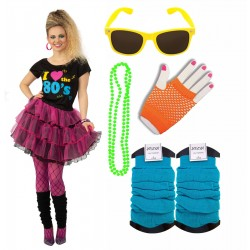 I Love the 80s Shirt and Skirt with 4 Piece Neon Set