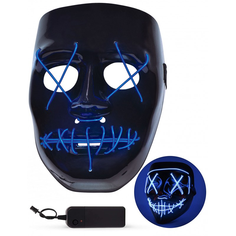 Blue Light-Up LED Halloween Mask