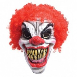 Lunatic Clown Mask Red Hair